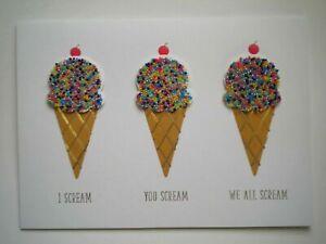 C.R.Gibson ~ EMBELLISHED ICE CREAM CONES BIRTHDAY GREETING CARD + ENVELOPE