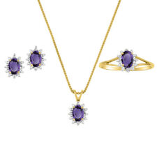 Amethyst & Diamond Pendant, Earrings & Ring in 14k Yellow Gold Plated silver