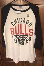 Junk Food Chicago Bulls NBA Shirt 3/4 Raglan Sleeves Black White Men L