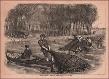 CATCHING CATFISH, MEMPHIS, MISSISSIPPI RIVER, antique engraving original 1876