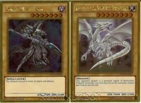 Yugioh Blue-Eyes White Dragon + Dark Magician - Gold Rare Movie Pack 2 Card Set