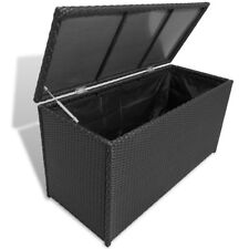 "vidaXL Outdoor Garden Storage Utility Chest Case Shed Poly Rattan Black/Brown�œ"""
