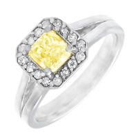 Fancy Yellow Radiant Cut Diamond Ring 18k Gold GIA Certified