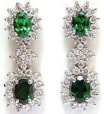 $7000 5.32CT NATURAL VIVID GREEN TSAVORITE DIAMOND EARRINGS 14KT HALO DANGLE