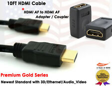 10FT 1.4V Gold Plated HDMI Cable + HDMI F/F Extension Coupler Adapter