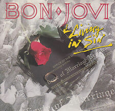 "BON JOVI  Living In Sin PICTURE SLEEVE 7"" 45 record NEW + juke box title strip"