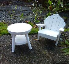 Dollhouse Miniature Fairy Garden Adirondack Chair & Table Set, White