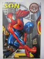 FANTASTIC COLOURFUL TIME TO TANGLE SPIDER-MAN SON BIRTHDAY GREETING CARD & BADGE
