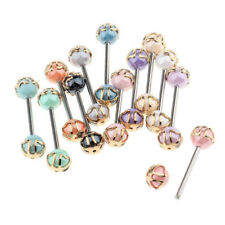 12Pcs Colorful Ball Tongue Nipple Bar Ring Barbell Body Jewelry Piercing Gift