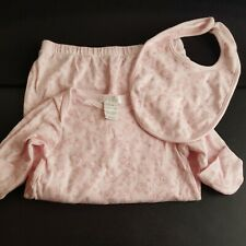 Pink Bunnies Bunny Sleepsack Gown Size 0-3 With Matching Bib