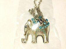 NWT Elephant Sparkle Silver Long Necklace Pendant and Earrings Set Many Colors