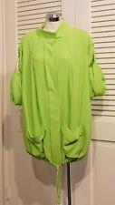 ST. JOHN SoCa Neon Lime Green 92% Silk, Adj Sleeve, Drawstring, Long Jacket L