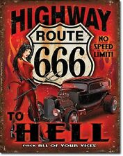 Highway To Hell Route 666 No Speed Limit TIN SIGN Hotrod Wall Decor Metal Poster