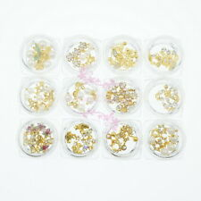 60pcs Gold Plated Alloy Charms Crystal Dangle Styles Nail Art Jewelry DIY Decor