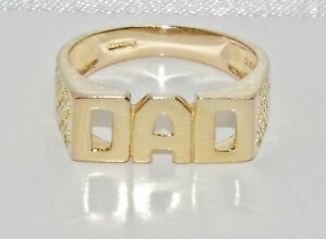 9ct Yellow Gold on Silver DAD Ring - All Sizes Available