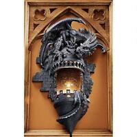 Dragon's Castle Lair Illuminated Graystone Finish Design Toscano Wall Sconce