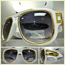 OVERSIZED VINTAGE RETRO LUXURY Style SUN GLASSES Large Wide White & Gold Frame