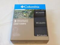 Columbia Mens Performance Cotton Stretch 3 Pack Crew T-Shirts S 34-36 India Ink