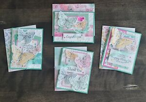 Handmade Greeting Cards Stampin Up BUTTERFLY BIJOU Assorted Set of 4