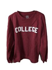 Unisex Size L Large Maroon Simply for Sports College Sweatshirt Pullover