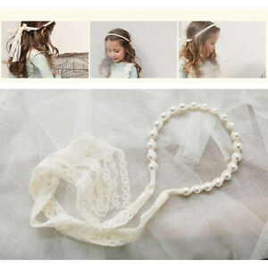 Lace Pearl Hair Hoop Band Headband Flower Girl Bridesmaid Wedding Accessories UK