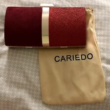 CARIEDO CLUTCH HANDBAG RED SUEDE GLITTER GOLD TRIM CROSSBODY CHAIN PURSE + POUCH