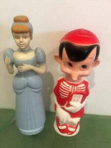 Walt Disney Prods Soaky Vtg Lot 2 Cinderella Pinocchio Colgate Palmolive 1960's