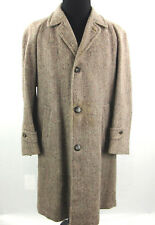Harris Tweed Overcoat Mens Large Handwoven Scottish Wool Removeable Liner *Flaw
