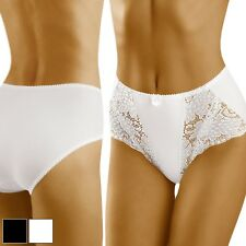 Womens Lingerie Ladies Knickers High Waist Floral Lace Smooth Back 8 10 12 14 White 8