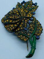 Vintage Czech Glass Orange Rhinestone Pave Flower Power Brooch