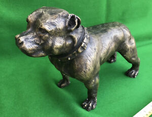 """Used Magnificent Large  Cast Brass Statue Of A Bulldog 13"""" Long 8"""" High Approx."""