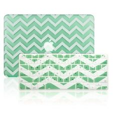 "Matte Chevron GREEN Hard Case + Keyboard Cover for Macbook Pro 15"" Retina A1398"