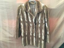 Rabbit Fur Coat Honey Brown And White Embroidered Lining Long Sleeves