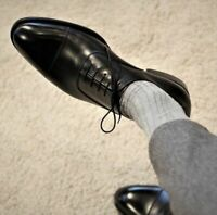 Mens Handmade Shoes Black Leather Oxfords Lace Up Formal Dress Casual Wear Boots