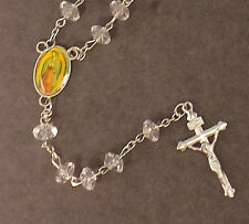 "CLEAR ACRYLIC ROSARY Beads AND CROSS 19"" LONG CHRISTIANITY GIFT RELIGION"