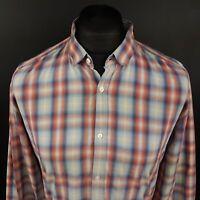 HUGO BOSS Mens Shirt LARGE Long Sleeve Multicoloured SLIM FIT Check Cotton