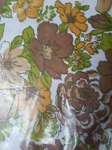 New Old Stock vintage retro Floral Sheet Set Singles w Pillowcase 70s 80s Fabric