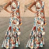 Women Boho Formal Ruffle V Neck Long Dress Summer Beach Party Gown Maxi Dress