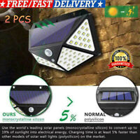 2 PCS 100 LED Solar Power PIR Motion Sensor Wall Light Outdoor Garden