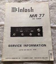 MCINTOSH MR 77 FM TUNER ORIGINAL SERVICE INFORMATION SCHEMATIC M492