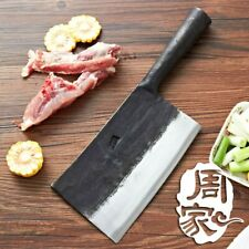 Handmade Steel Forged Cleaver Chinese Kitchen Chef Knife Vegetables Meat Tools !