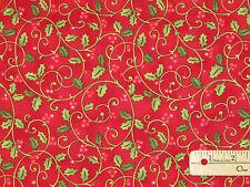 Santa's Here Red Holly Benartex Christmas Fabric  by the 1/2 Yard    #06074