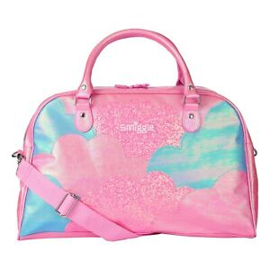 Smiggle Girls Lunar Weekender Bag gym sleepover sport travel pink cloud shiny