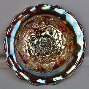"C130 Millersburg BLACKBERRY WREATH Amethyst Carnival Glass 8½"" Flared SHELFER"