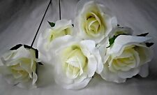 6 ivory ARTIFICIAL open SILK (NOT FOAM)ROSE STEM FAUX  FLOWER WEDDING/DECOR/