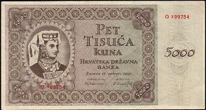 1943 Croatia 5000 Kuna WWII NDH Rare Money Banknote German Nazi Occupation XF