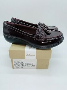 Clarks Collection Women's Ashland Bubble Slip-on Loafers Burgundy Patent US 8XW