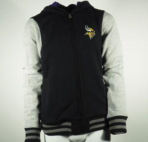 NFL Minnesota Vikings Kids Youth Girls Size Hooded Sweatshirt Pockets & Zipper