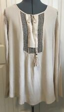 NEW Joseph A Taupe Women's Crinkle Top Blouse Tie Tassel Neck Crochet Detail XXL