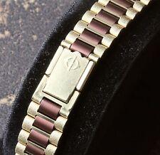 Gold & brown link vintage Zodiac watch NSA bracelet pick ends 12mm to 14mm wide